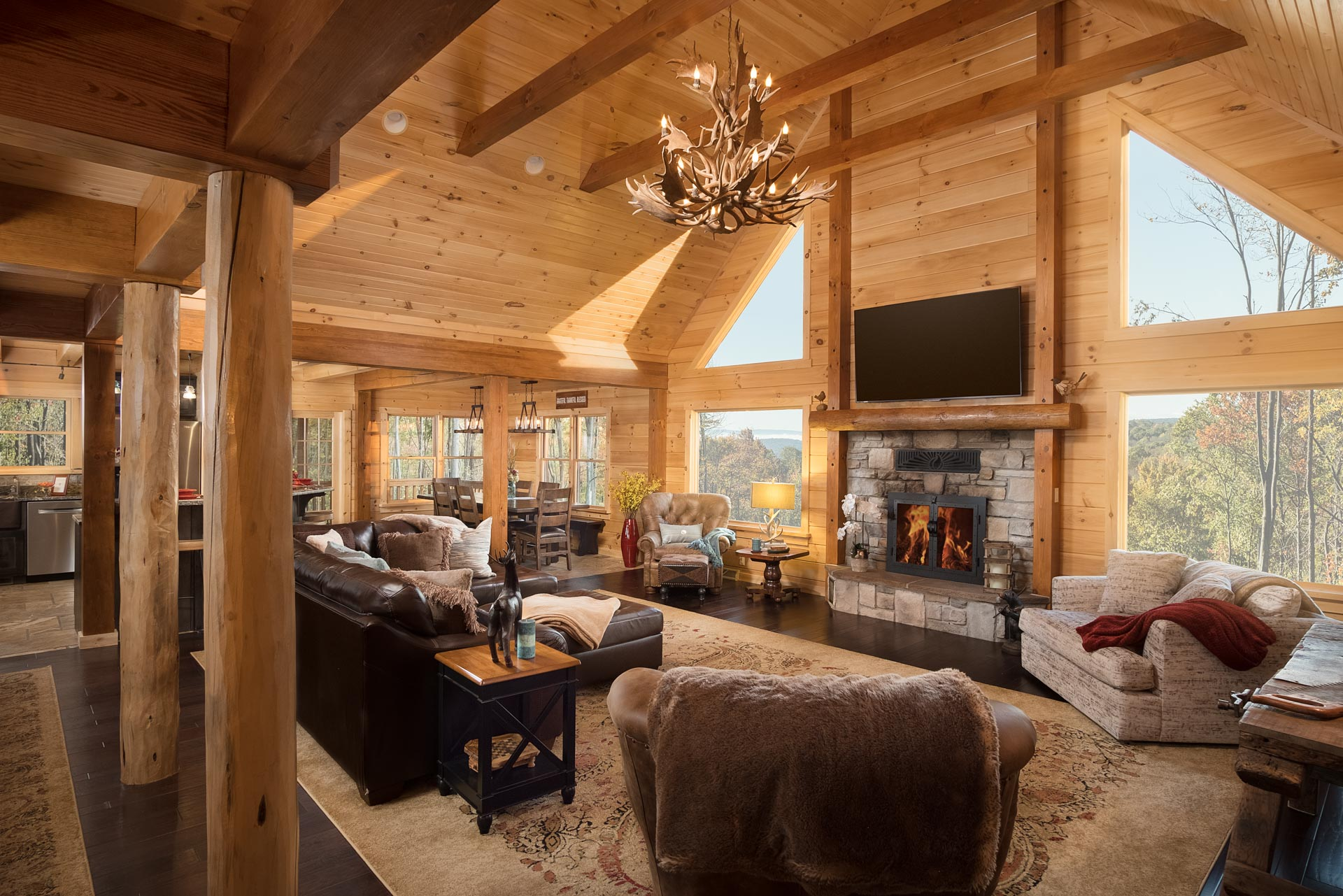 remarkable log cabin home living room | Commercial Photographer | Allen Mowery Photography ...